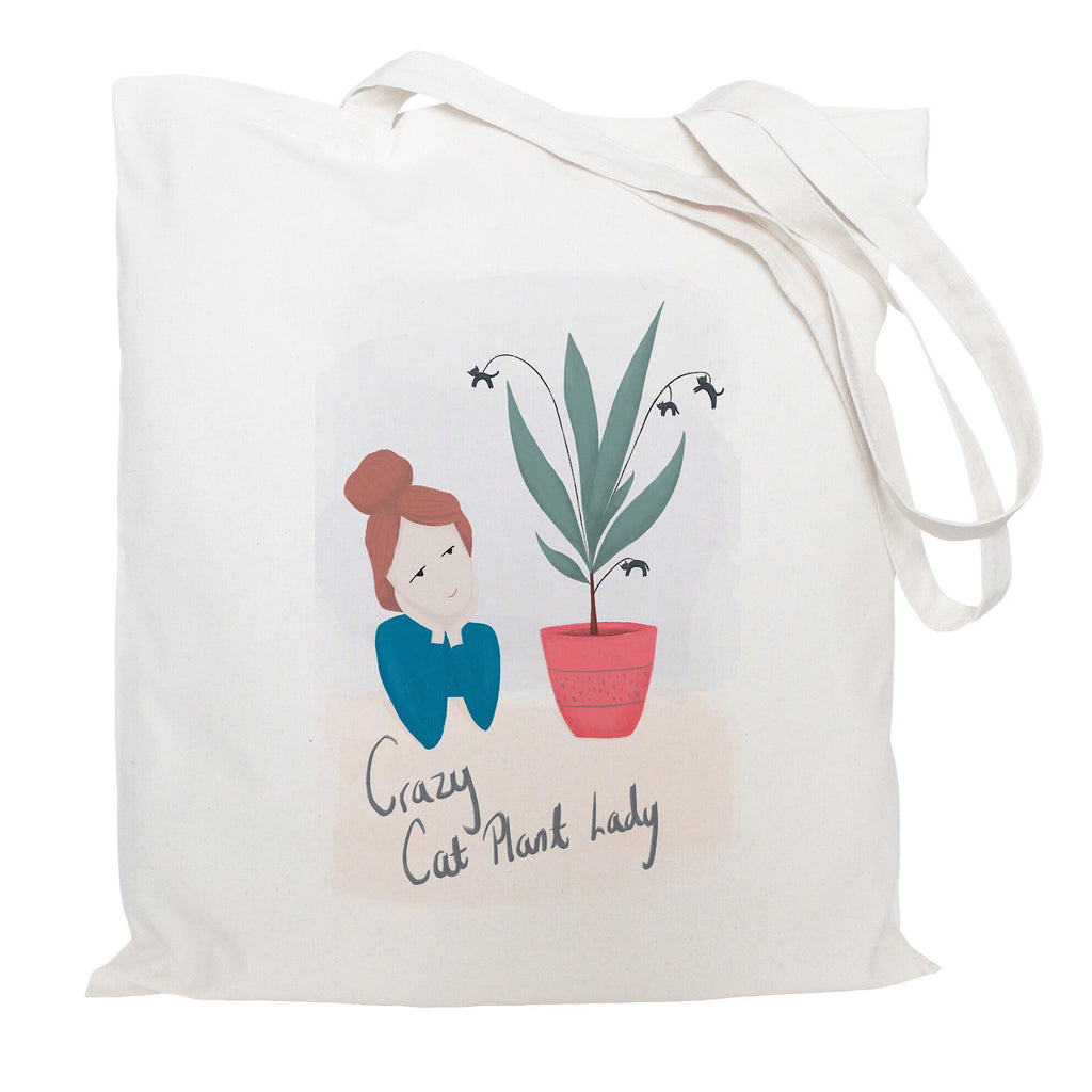 Crazy cat plant lady tote bag