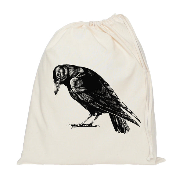 Crow drawstring bag