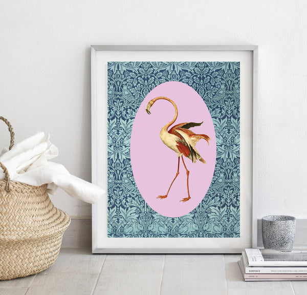 Flamingo on blue pattern print/ wall art