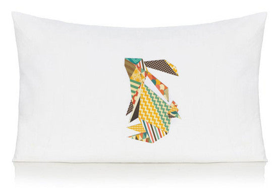 Origami rabbit pillow case
