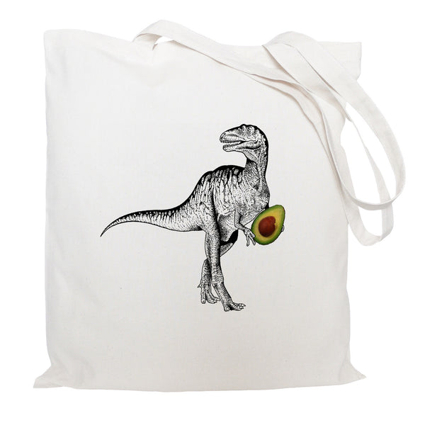 Dinosaur with avocado tote bag