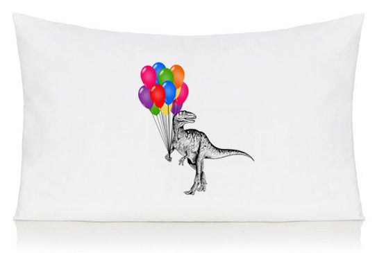 Dinosaur with balloons pillow case