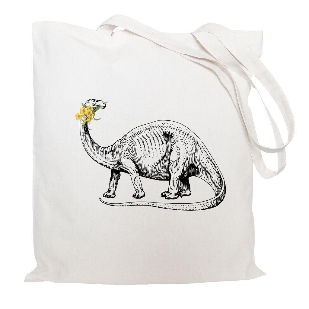 Dinosuar with daffodils tote bag