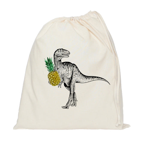 Dinosaur with a pineapple drawstring bag