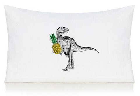 Dinosaur with pineapple pillow case