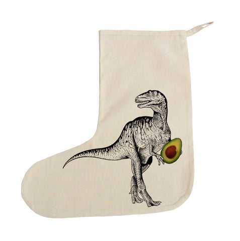 Dinosaur with avocado Christmas stocking