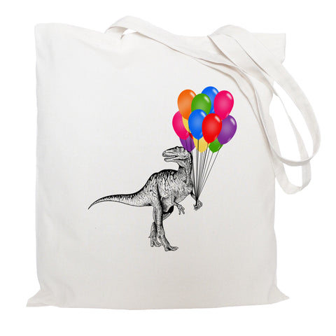 Dinosaur with balloons tote bag