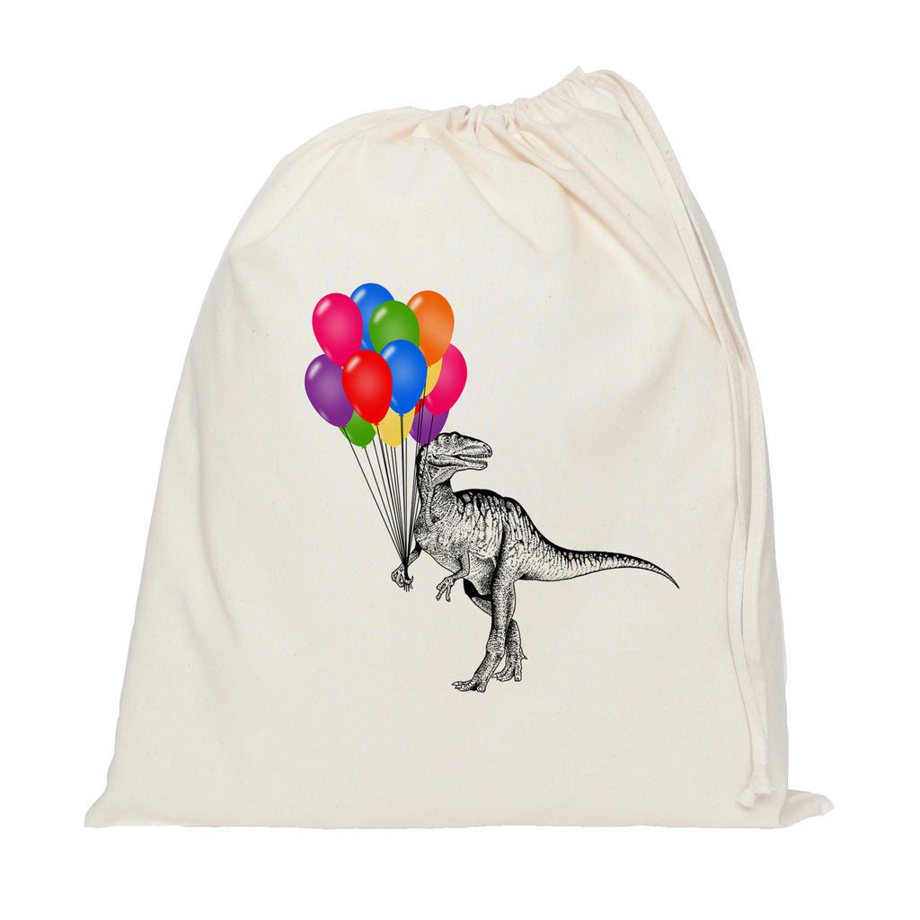 Dinosaur with balloons drawstring bag