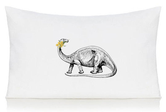 Dinosaur with daffodils pillow case