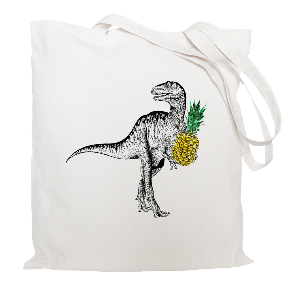A dinosaur with pineapple tote bag