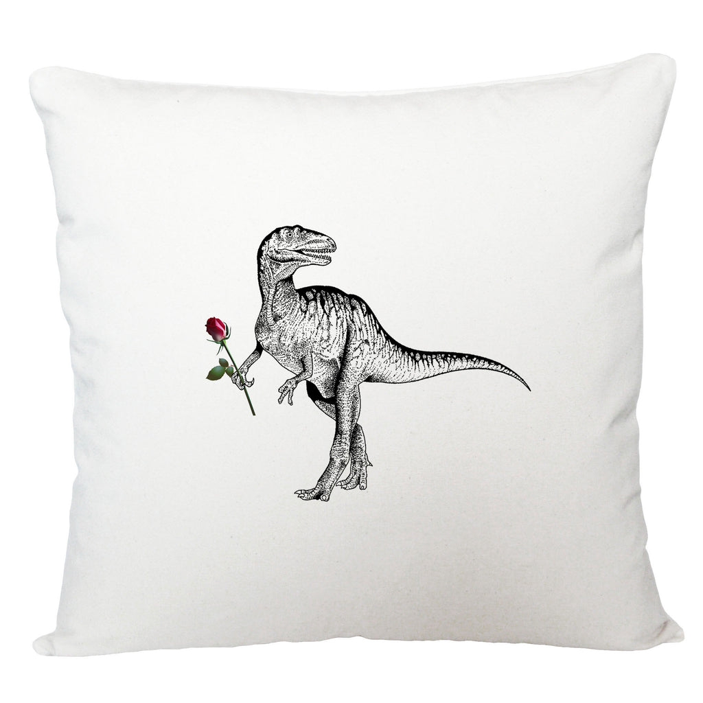 Dinosaur with rose cushion cover