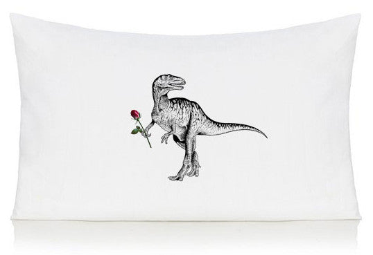 Dinosaur with rose pillow case