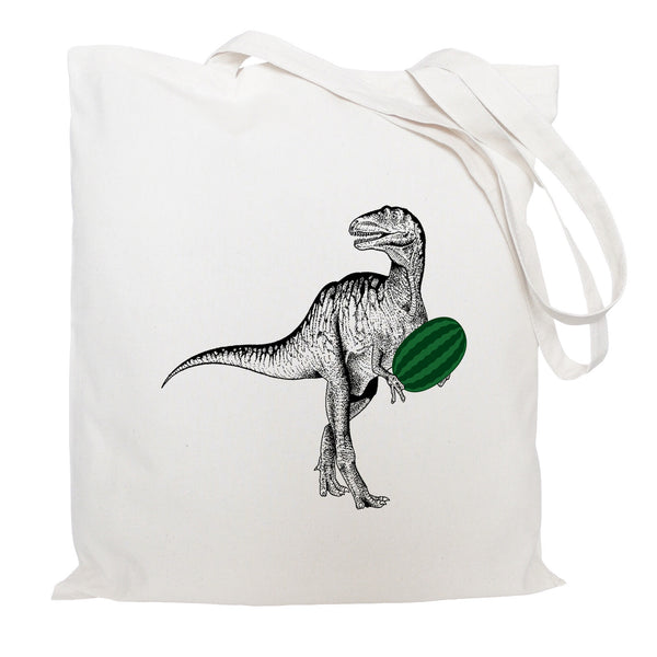 Dinosuar with watermelon tote bag