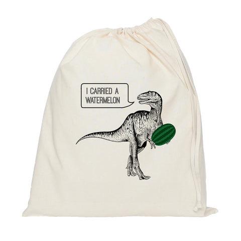 Dirty dinosaur drawstring bag