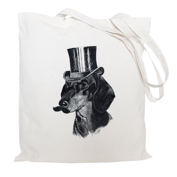 Dog with hat and moustache tote bag