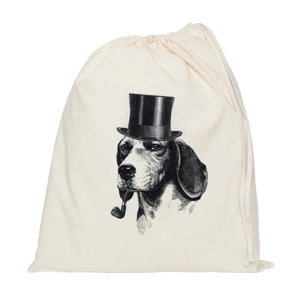 Dog with hat and pipe drawstring bag