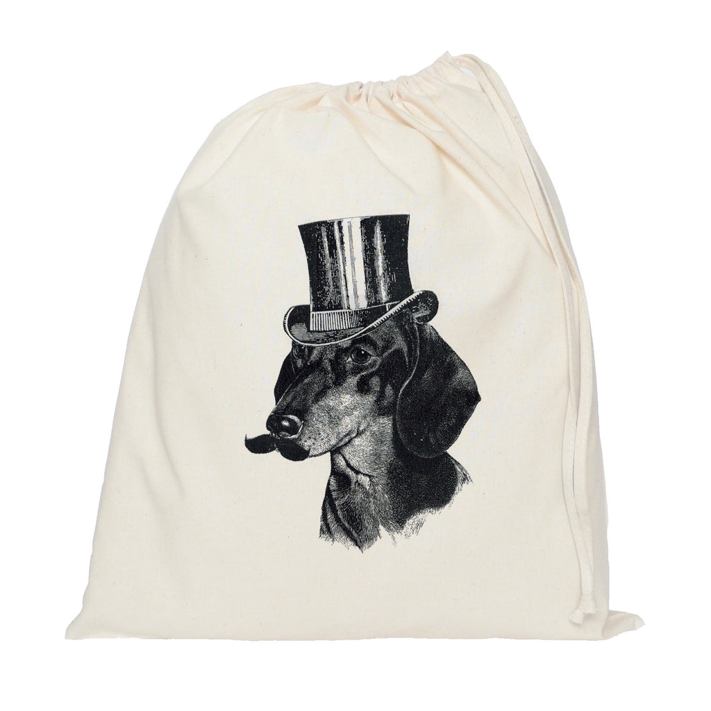 Dog with hat and moustache drawstring bag