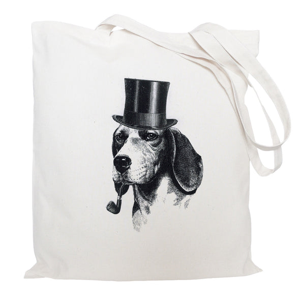 Dog with hat and pipe tote bag