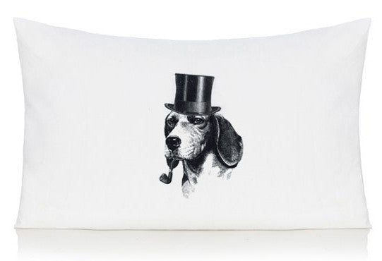 Dog with hat and pipe pillow case