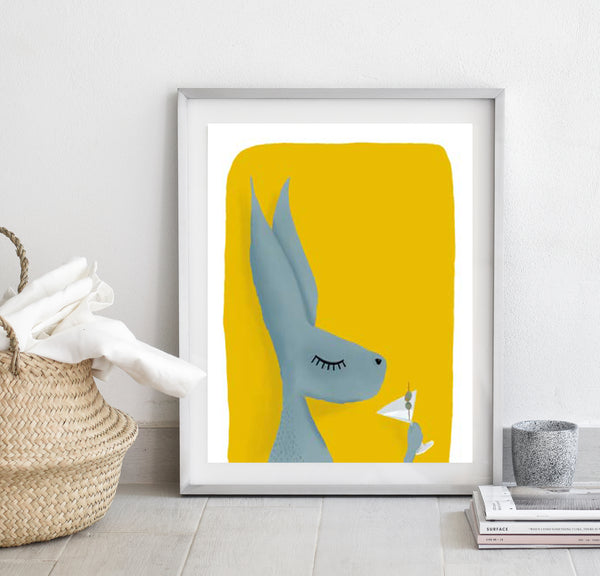 Hare with cocktail print/ wall art