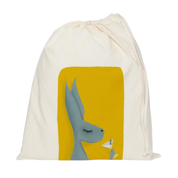 Hare with cocktail drawstring bag