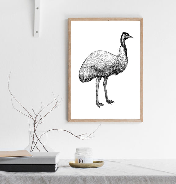 Black and white emu print/ wall art