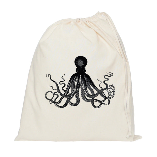 Black octopus drawstring bag