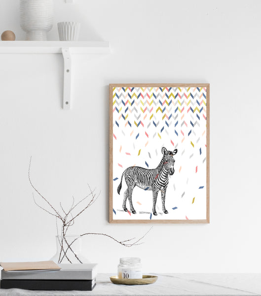 Zebra in confetti print/ wall art