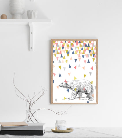 Polar bear with falling triangles print/ wall art