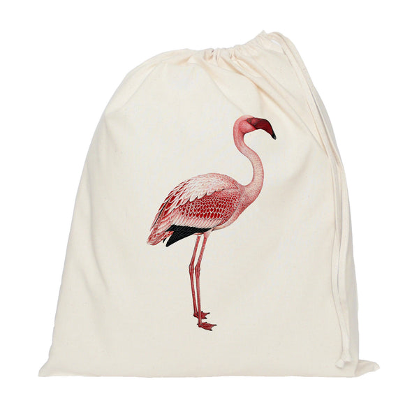 Standing flamingo drawstring bag