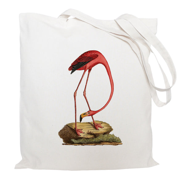 Flamingo on a rock tote bag