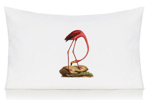 Flamingo on a rock pillow case