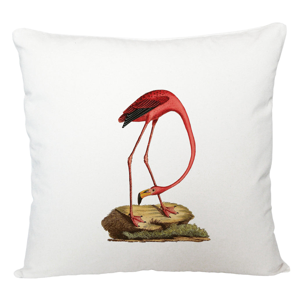 Flamingo on a rock cushion cover