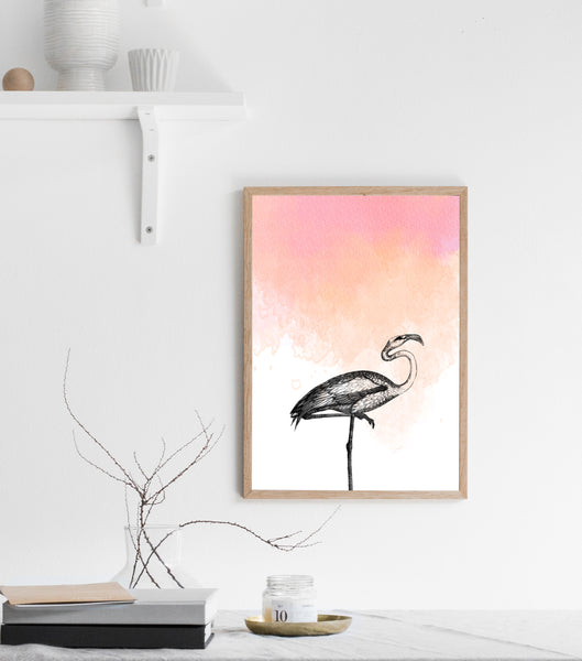 Flamingo print/ wall art