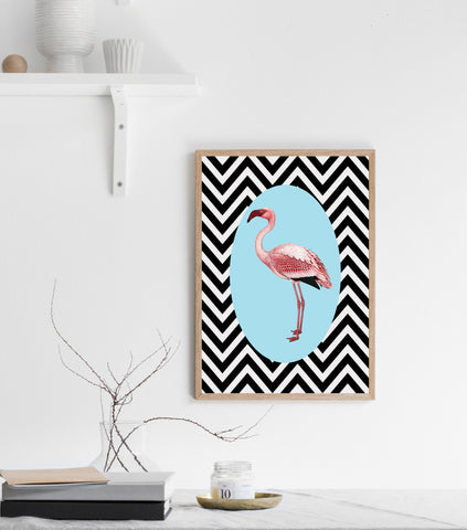 Flamingo on chevrons print/ wall art