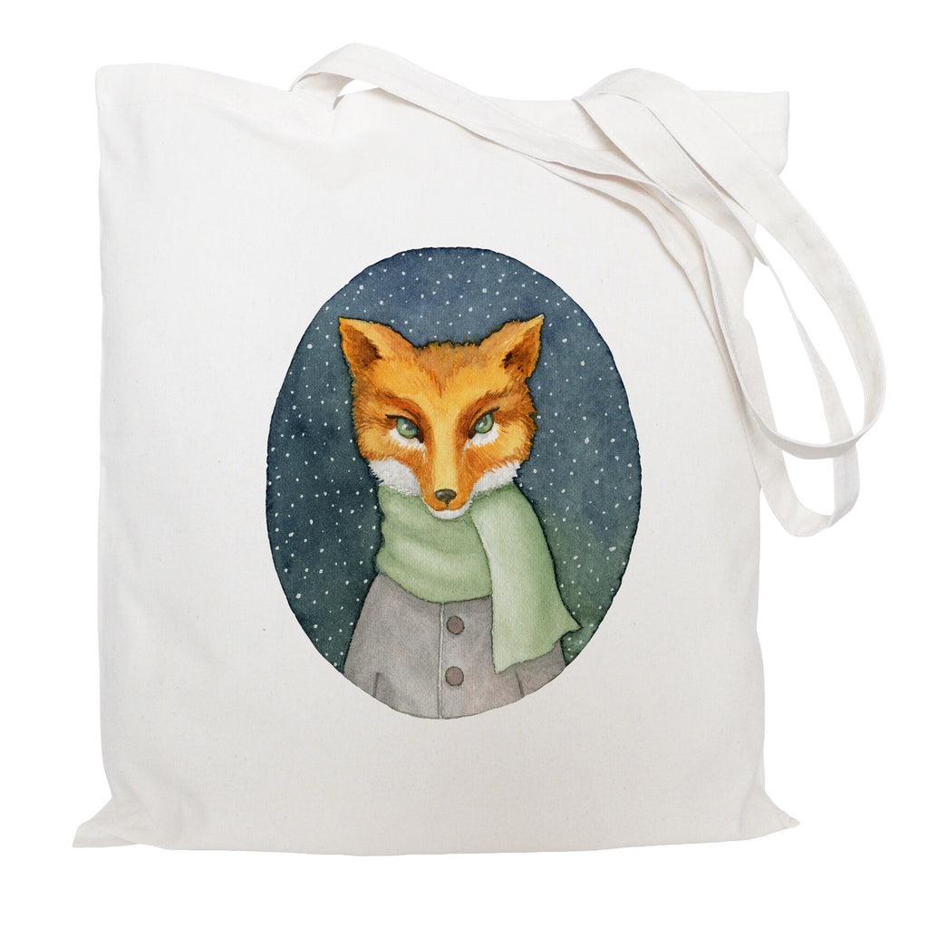 Fox in a scarf tote bag