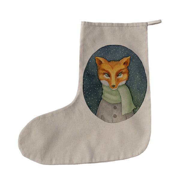 Fox in scarf Christmas stocking