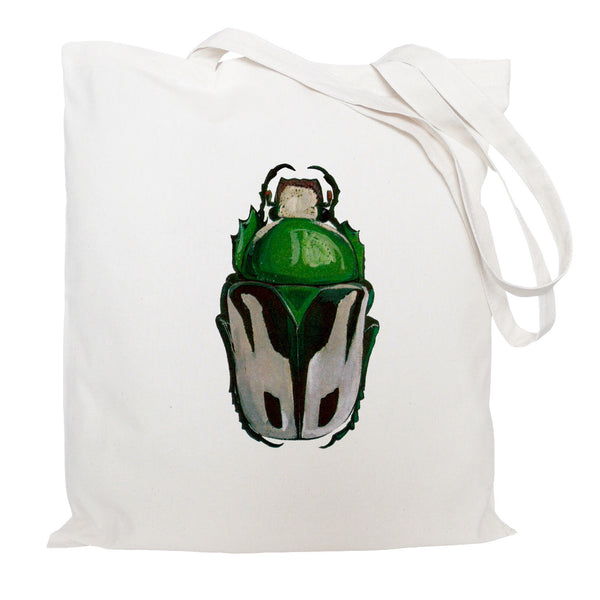 Green beetle tote bag