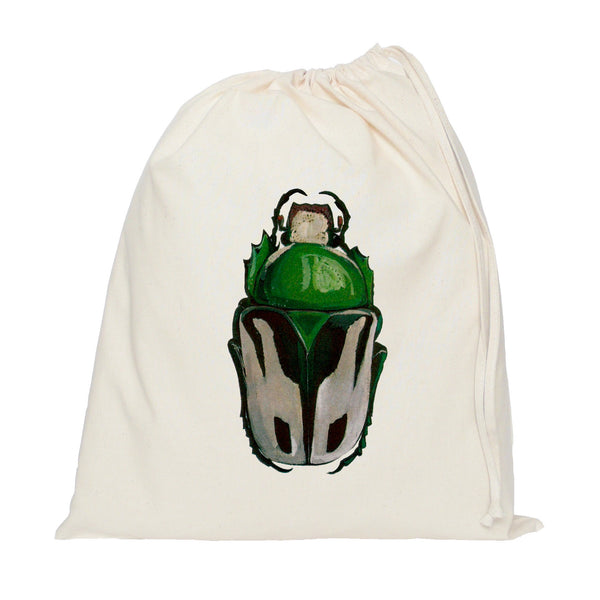Green beetle drawstring bag