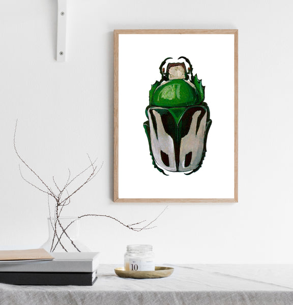 Green beetle print/ wall art