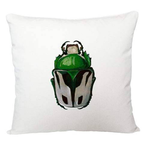 Green beetle cushion cover