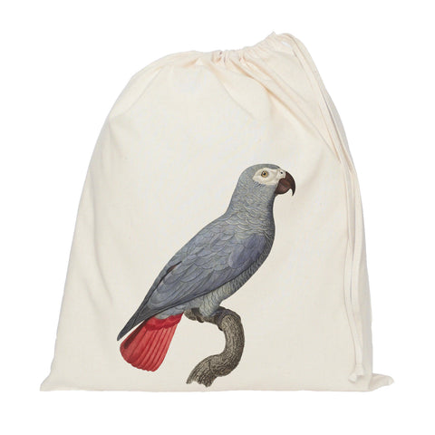 Grey parrot drawstring bag