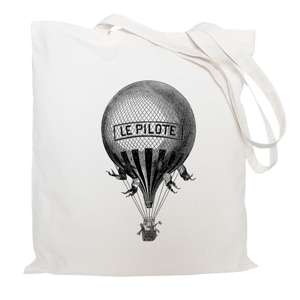French hot air balloon tote bag
