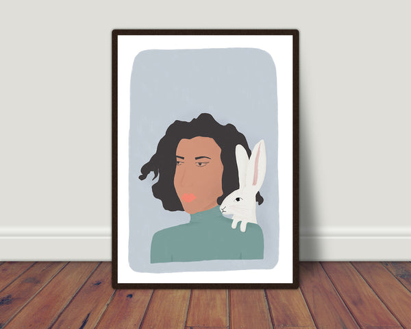 Lady and hare print/ wall art