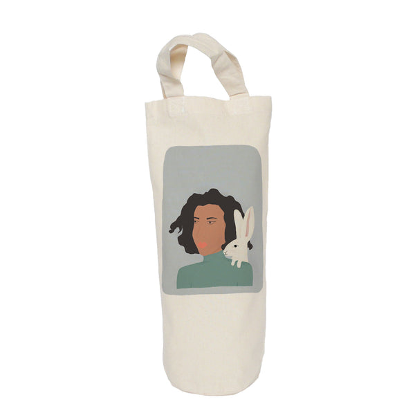 Lady with hare bottle bag