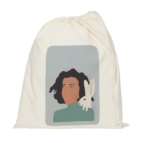 Lady with hare drawstring bag