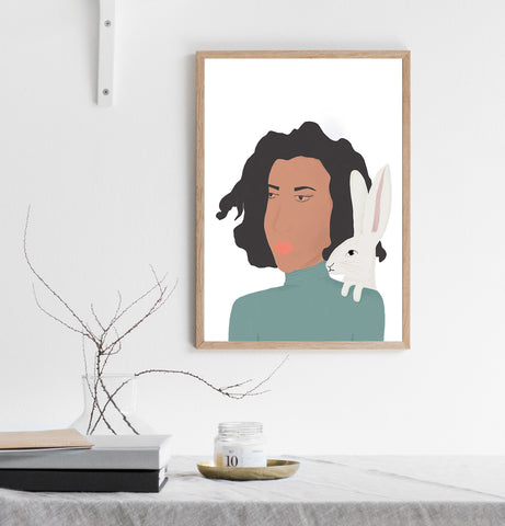Lady with hare print/ wall art