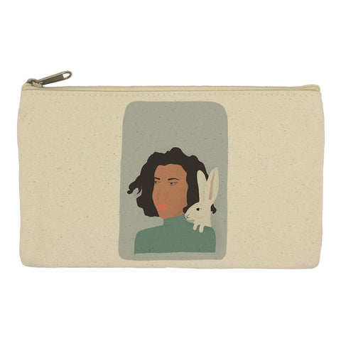 Lady and hare pencil case