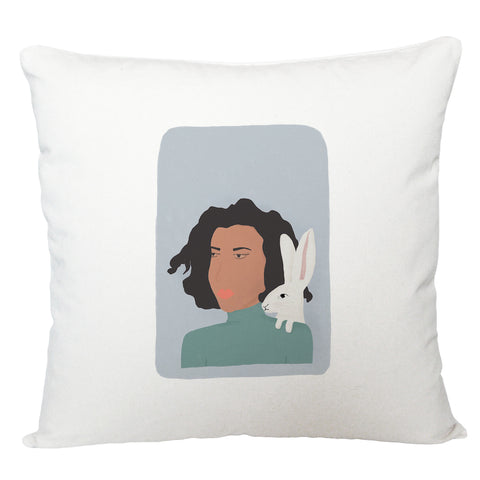Lady with hare cushion cover