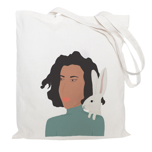Lady with hare tote bag